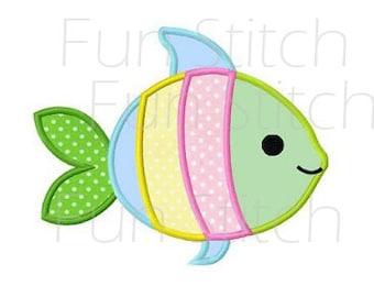 Cute fish applique machine embroidery design digital pattern