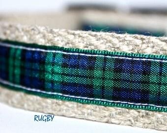 Plaid Dog Collar, Preppy Dog Collar, Adjustable Dog Collar, Pet Collar, Green and Navy Plaid Collar