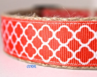White & Coral Dog Collar, Pattern Dog Collar, Adjustable Dog Collar, Pet Accessory, Stripe Dog Collar
