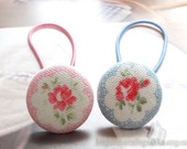 Girl Hair Accessories,Big Hair Tie Button Ponytail Holders-Shabby Chic Cath Kidston Pale Blue Pink Rose Floral Garden(1 PCS,Choose Color)
