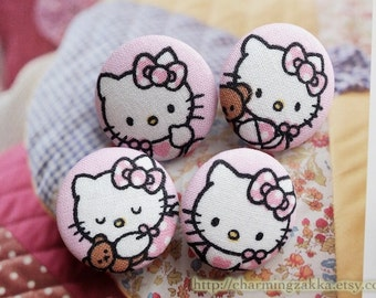 Fabric Covered Buttons (L) - Cute Baby Japanese Kimono Kawaii Cat Wearing Pink Bows (4Pcs, 1.1 Inch)