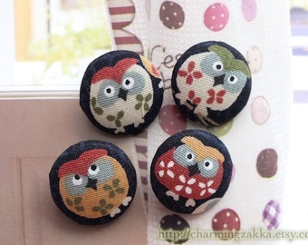 Fabric Covered Buttons (M) - Japanese Traditional Cherry Blossom Hoot Owls (4Pcs, 0.75 Inch)