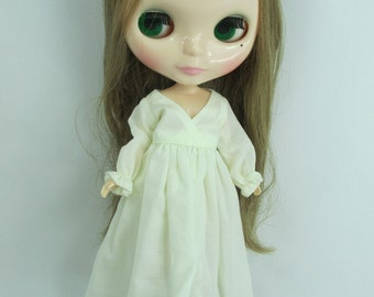 Handcrafted long sleeve dress night gown pajamas outfit for Blythe doll 955-10