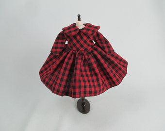 Handcrafted long sleeve scotch dress outfit for Blythe doll 957-1