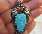 Native American Inspired Turquoise and Red Jasper Sterling Silver Pendant