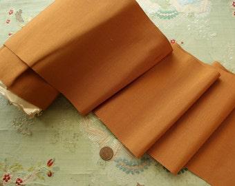 """1 yard antique vintage ribbon trim silk cotton grosgrain 1920 1930 faille wide dress lingerie trim ribbon  butterscotch bow sash 6 5/8"""""""