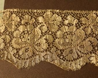 Antique metal lace sample art deco trim gold roses lace 1920  ribbon ribbonwork millinery trim flapper 1900s 1920 edwardian millinery