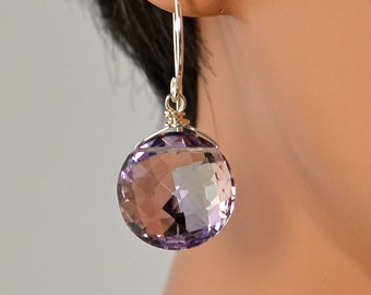 LP 1216 Sparkling Faceted Ametrine Coin Earrings