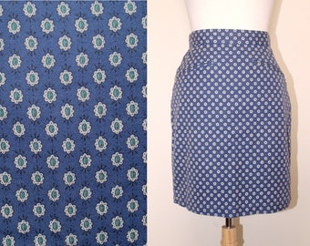 90s Blue Print Espirit Highwaisted Pencil Skirt with Zipper Pockets Preppy Hipster size X-Small