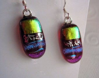 Dichroic Earrings Merlot with Kiwi Accent Dangles Fused Glass Deep Wine Red Jewelry Unique Artist Crafted Gift Space Shuttle Glass Dichro