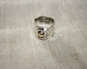 Rough Texture Silver Ring , Handmade Sterling Silver Ring, Silver and Brass  Ring, One Of a Kind Ring,Statement Ring,