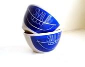 Ceramic Small Smile Bowls, Pair (2)