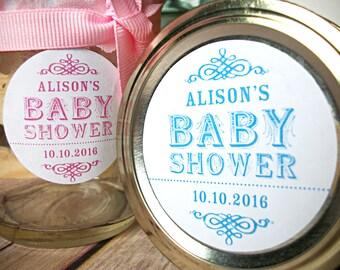 Vintage Baby Boy Girl Shower canning jar labels, custom round mason jar stickers, shower favor jars, pink blue green neutral colors