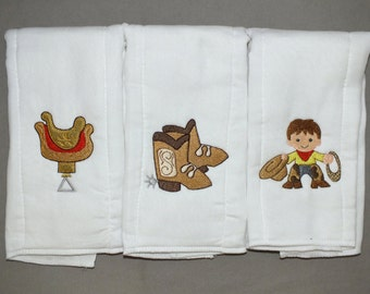 baby boy Cowboy baby boy burp cloth set