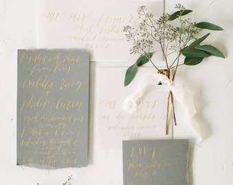 Wedding Envelope Calligraphy Hand Addressing in Lowercase Font in Gold or White Ink on Colored Envelopes