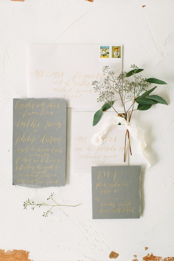 Wedding Envelope Calligraphy Hand Addressing in Lowercase Font in Gold ...