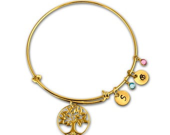 Gold Adjustable Bangle Bracelet Charm Mother Grandmother Family Tree of Life with Initials Birthstones