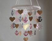 Navy Pink Gold Glitter Helm Heart Girl Glam Nautical Sailboat and Anchor Sea Ocean Baby Mobile