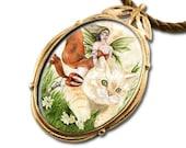 Cat Fairy Bronze Art Pendant