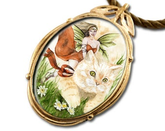 Cat Fairy Bronze Art Pendant