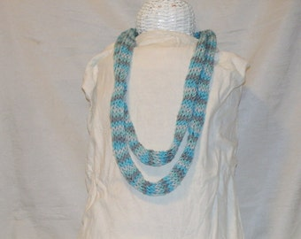 Variagated Blue Knitted I Chord Necklace