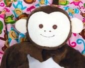 Brown Monkey Security Blanket, Lovey, Lovey Blanket, Minky Baby Blanket, Stuffed Animal, Baby Toy, Teething Toy, Sensory Blanket, Blankie