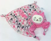 Small Cat Security Blanket, Pink Cat Blanket, Baby and Children Lovey, Teething Toy, Sensory Toy, Comforting Blanket, Baby Girl, Plush Toy
