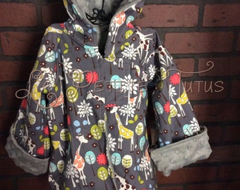 giraffes, boys jacket, minky jacket, boys clothing, clothing, warm jacket, boutique jacket, hooded, baby, toddler, jacket, coat, minky, gray