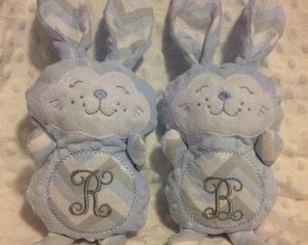 Bunny plushie with initial, custom, bunny, stuffed bunny, initial bunny, customizable, custom colors, handmade, minky bunny, easter bunny