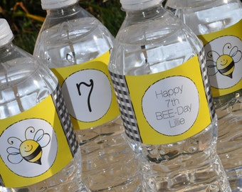Bee Birthday Water Bottle Labels - Bumble Bee Theme - Happy BEE-Day Birthday Party Decorations - Girls Birthday Party - Set of 10