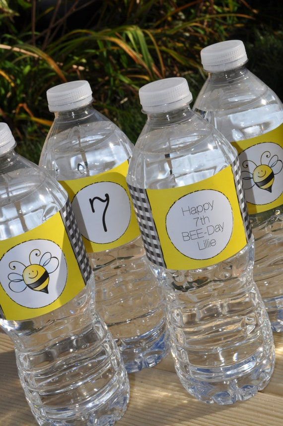 Bee Birthday Water Bottle Labels
