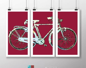 Retro Street Map Bicycle Art Triptych on Premium Archival Matte Paper - 12x24 Panels