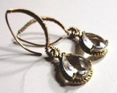 Clear Crystal Tear Drop with Wire Wrap Lotus Style Ear Wire, 14k Gold Filled Earrings