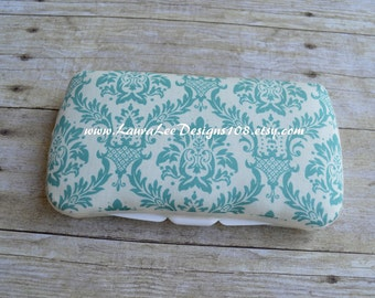 Turquoise and Cream Damask Travel Baby Wipe Case, Monogram Wipe Holder, Baby Shower Gift Wipecase, Personalized Wipe Clutch, Diaper Wipes