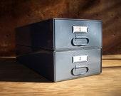 Set of 2 Vintage Industrial Metal Stacking Storage Drawers / Industrial Gray / Modular Storage Organization / Supplies Storage