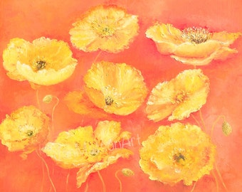 Poppy Painting, poppies, Canvas Art, Impressionist art, poppy art, flower painting, yellow poppies, California poppies, living room art