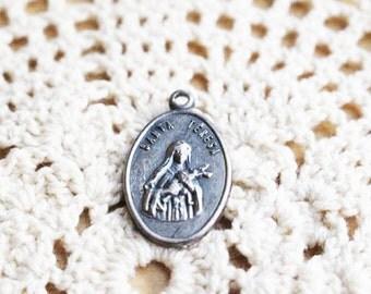 St Teresa, Little Flower, Silver Pendant, Catholic Saint    - A