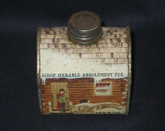 Vintage 1984 FIGURAL LOG CABIN  Tin Can Bottle which originally had Vermont Maple Syrup in it Make into a bank or Christmas village pc