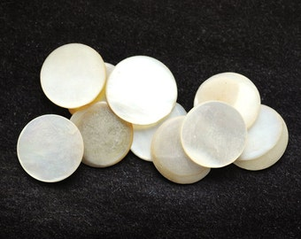 Vintage 12mm Round Mother of Pearl Disks Cabochons Cabs, No Holes, Cream, Off White, Quantity 10