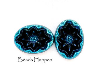 18x13mm Oval Glass Intaglio Cabochons Cabs, Black Intaglio Cabs with Bermuda Blue Shimmer, 18x13 ovals, Quantity 2
