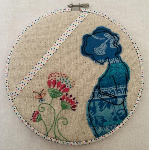 Being Mom Hand Embroidered Hoop Art, Motherhood, Expecting Mothers, Whimsical, Hand Embroidered