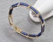 Lapis and Gold filled Bangle