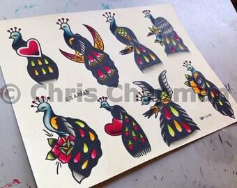 Tiny Peacocks Tattoo Flash