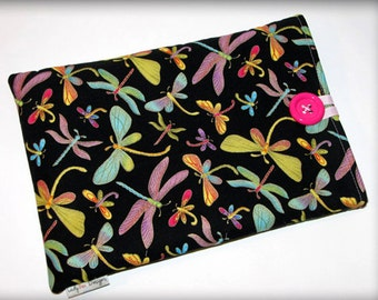 Tablet case, slide in tablet case, button and loop closure, 100% cotton, dragon fly, flowers, dandelions