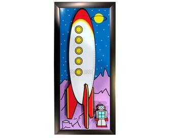 Retro Rocket 1950s Robot Sci Fi Movies 3D Pop Art Movie