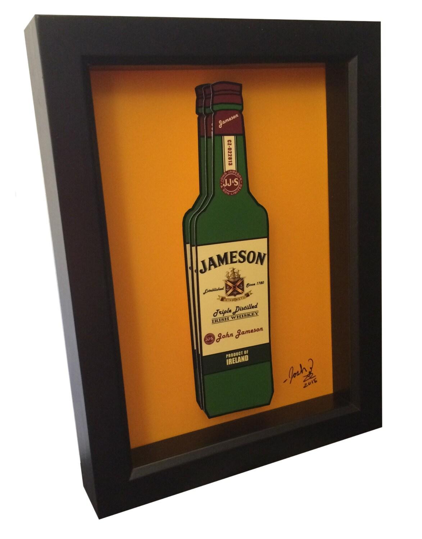 Jameson irish whiskey bottle 3d pop art liquor bottle print for Liquor bottle art