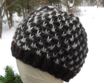 Black,Lt.Gray Knitted Adult Hat