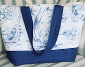 Blue Sailboats on White Background Extra Large Beach Bag, Tote Bag, Travel Bag