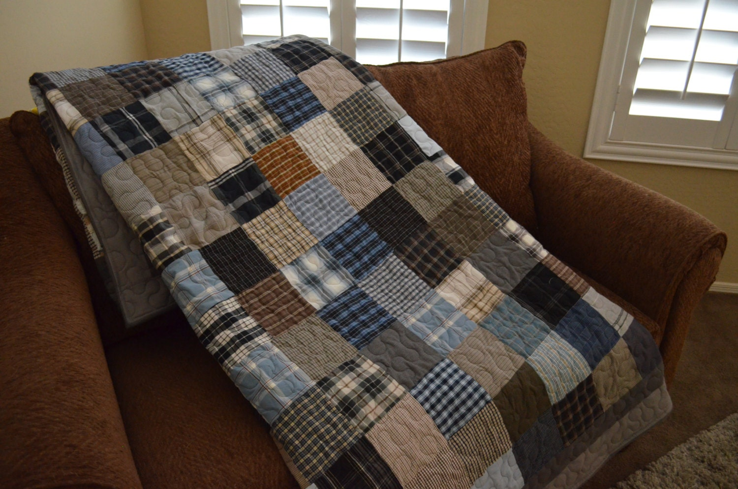 Quilt Patterns From Men S Shirts : Quilt Men s Plaid Dress Shirt Quilt RePurpose ReCycle Gray