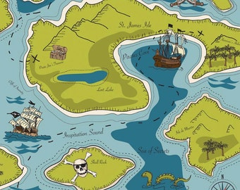 Pirate Matey's Green Main by Emily Taylor Designs for Riley Blake, 1/2 yard